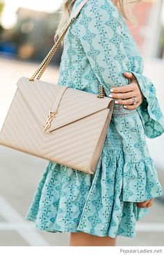 wonderful-mint-dress-with-nice-details-and-a-nude-ysl-bag