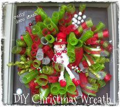 TUTORIAL DIY Christmas Deco Mesh Curly Wreath