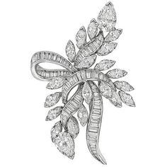 Preowned 1950s ​diamond Platinum Spray Ribbon Brooch ($19,000) ❤ liked on Polyvore featuring jewelry, brooches, brooch, multiple, diamond brooch, diamond jewelry, platinum jewellery, pre owned jewelry and preowned jewelry