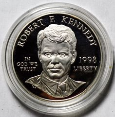1998-S ROBERT F. KENNEDY 90% SILVER PROOF COMMEMORATIVE COIN - WITH CAPSULE!!  US $54.99