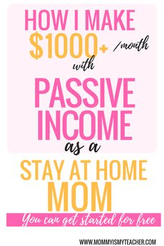 Wow, she makes over $1000 a month with passive income as a stay at home mom! This is amazing, that i can do this simple side hustle and work at home. pinning for later.