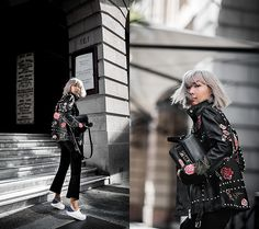 Get this look: http://lb.nu/look/8527001  More looks by Jiawa Liu: http://lb.nu/beigerenegade  Items in this look:  Proenza Schouler Ps11 Mini Handbag (25% Off With Code 'Giftfwrd'), Lpa 58 Embroidered Leather Jacket (25% Off With Code 'Giftfwrd'), Derek Lam Cropped Flared Pants, Senso Sneakers   #casual #edgy #street