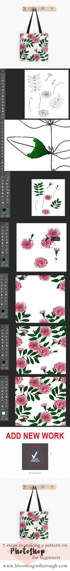 Pattern Design - 7 steps to making a pattern on Photoshop for beginners. Photoshop Lessons, Sell Stuff, Internet Art, Wallpaper Patterns, Graphic Design Tips, Basic Tools, Illustrator Tutorials, Fabric Manipulation, Hand Illustration