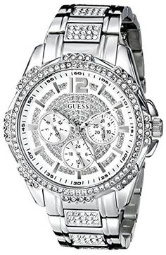 GUESS Womens U0286L1 SilverTone Glitz Watch with Link Bracelet >>> You can get additional details at the image link.