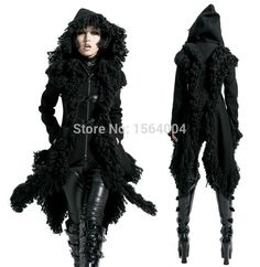 Punk Rave Rock Gothic Kera Visual kei with Horn buttons Hoodie Jacket Coat Women fashions Cardigan Alternative Measures