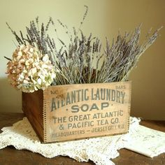 Advertising Box - I think I would just fill it with the lavender.  Calm simple looks and relaxing healing aromas.