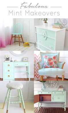 The best DIY projects & DIY ideas and tutorials: sewing, paper craft, DIY. Diy Crafts Ideas Awesome roundup of furniture makeovers done with mint. So much great inspiration for this awesome color! Mint Furniture, Repurposed Furniture, Furniture Projects, Furniture Makeover, Dresser Makeovers, Furniture Layout, Furniture Online, Mint Rooms, Furniture Restoration