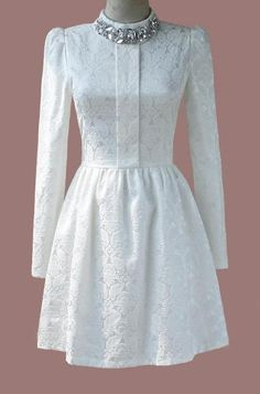 White Long Sleeve Rhinestone Lace Pleated Dress US$31.39 More than beautiful, it is deffinetly my style