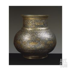 Brass Vase, Damascened with Gold and Silver Arabic and Persian Inscriptions, 15th-16th Century Giclee Print at Art.com