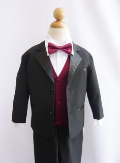 Formal Boy Tuxedo Black with Burgundy Vest ($40)