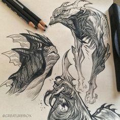 A Morning Monster Mashup: black prismacolor on newsprint #sketch #monster