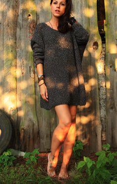 Szary sweter sukienka handmade oversize