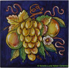 Deruta Italian Hand Painted Tile -Frutta Blu Decorative or backsplash tile  - 8 in x 8 in (20cm x 20cm)