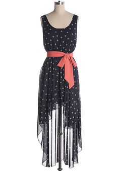 Indie, Retro, Party, Vintage, Plus Size, Convertible, Cocktail Dresses in Canada Confetti Dress - A modern classic! Pretty navy polka-dot hi-lo dress with removable contrasting orange waist sash. 100% polyester. Not stretchy. Lined. Self-tie waist sash. Styling Tip: Try pairing with a simple necklace and sandals for a pretty summer look.