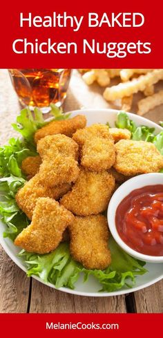 Baked Crispy Chicken Nuggets - HEALTHY Chicken Nuggets Recipe from MelanieCooks.com