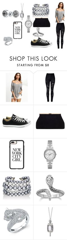 """""""grey black"""" by raven-536 ❤ liked on Polyvore featuring Converse, Casetify, Michael Kors, Kenneth Jay Lane, Monica Rich Kosann and Bling Jewelry"""