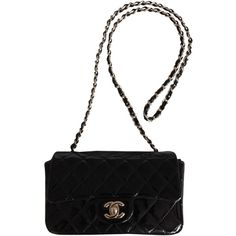Pre-owned Chanel Patent Mini Flap Black Cross Body Bag (70,120 MXN) ❤ liked on Polyvore featuring bags, handbags, shoulder bags, chanel, black, mini purses, long strap shoulder bags, mini handbags, shoulder strap bags and chanel handbags