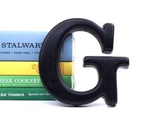 vintage 6 black letter G industrial marquee business