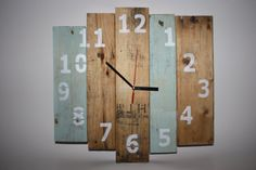 Rustic Wooden Clock, Recycled Pallet Clock, Recycled wooden wall clock, Reclaimed Wood Clock with numbers