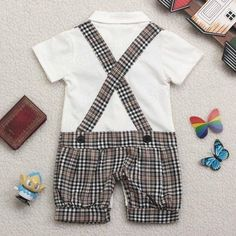 Baby Bowknot Gentleman Romper Boy Kids Jumpsuit Clothing Set - US$15.65