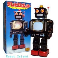 This robot walks and displays a scrolling space scene from the television in his belly! His telly belly!