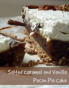 Salted Caramel and Vanilla Pecan Pie Cake - #Raw, #vegan 4 layer cake that tastes exactly like a pecan pie cheesecake.  Gluten free and no refined sugars!