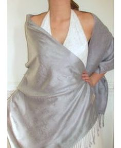 Grey Evening Shawl with Silver Accents