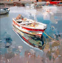Born in In the scenic port town of Vlore, Albania, modern artist Josef Kote emerged eager to share his unique vision with the world. Watercolor Landscape, Landscape Art, Landscape Paintings, Watercolor Paintings, Impressionist Paintings, Seascape Paintings, Pinterest Pinturas, Boat Art, Boat Painting