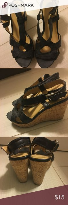 Nine West black wedges size 7.5 Super cute black wedge sandals Nine West Shoes Wedges