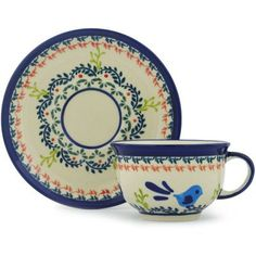 Polish Pottery Cup with Saucer 7 oz Vine Birds UNIKAT <3 Details on product can be viewed by clicking the image