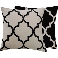 Quatrefoil Black Cream Pillow Cover 20x20 Moroccan Riad Lattice Living Room Pillow Home Decor, Ying and Yang Collection found on Polyvore