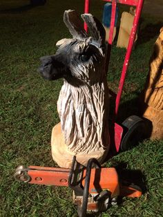 Chainsaw Carved Llama by Jason Morton with Eagle Ridge Chainsaw Carvings in Springfield, MO  Http://www.eagleridgesawworks.com