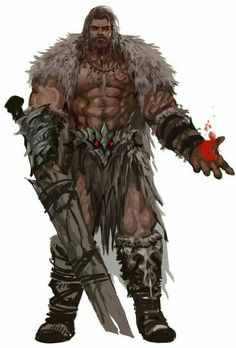 Human Male Bloodrager Barbarian - Pathfinder PFRPG DND D&D d20 fantasy