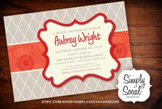 Red and Grey Baby Shower Bridal Shower Invitation.