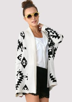 Aztec Open Knit Cardigan.. this look with shorts is so cute