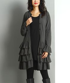 Loving this Charcoal Tiered Ruffle Cardigan on #zulily! #zulilyfinds