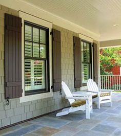 Trendy exterior paint colora for house gray front porches shutters ideas Exterior Brick, Window Trim Exterior, Windows Exterior, House, Exterior Design, Shutters Exterior, New Homes, House Shutters, House Exterior