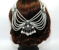 Wedding Hair Jewelry, Bridal Headpiece, Pearl Headpiece, Back Hair Chain Accessory, 1920s Art Deco Headpiece, Vintage Style Wedding This is a beautiful piece perfect for a vintage style wedding.