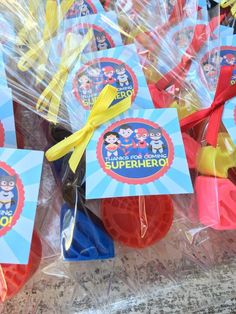 """SUPERHERO SOAP FAVORS Measuring a 1.25 x 1 inches each, included in this order are Superhero soap favors in your choice of package option, color and fragrance. 1 """"soap favor"""" has 3 soaps included just like pictures. The themes we have are Batman, Superman/Woman & Spiderman. These are perfect for a girl or boy Superhero party! **If you have a different Hero of interest please email me! I am working on getting them all. OUR CURRENT TURNAROUND TIME IS 3 TO 4 WEEKS. I DO MY BEST TO ACCOMMODATE EVERY Birthday Party Favors, Birthday Parties, Superman, Batman Spiderman, Avengers Birthday, Soap Favors, Thing 1, Superhero Party, Soap Making"""