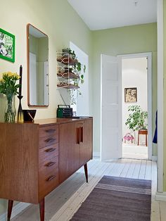 Entry Way Idea Not Available-Inspiration Thin table, mirror, plants Love this entry way console.