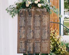 Seating Chart Template Editable Wedding Seating Chart | Etsy Wedding Seating Signs, Wooden Wedding Signs, Wedding Welcome Signs, Wedding Table Numbers, Wedding Decor, Wedding Gifts, Wedding Ideas, Wedding Centerpieces, Diy Wedding