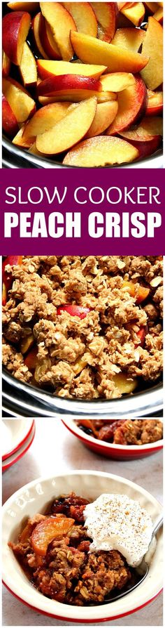 Slow Cooker Peach Crisp recipe - sweet peaches, sliced and tossed with vanilla, baked under oats and brown sugar topping that tastes just like oatmeal cookies! This is my favorite crock pot dessert for hot summer days!  Served with whipped cream or vanilla ice cream.