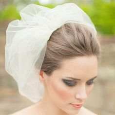 Ivory tulle blusher inspired shoulder length birdcage veil