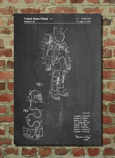 Apollo Space Suit Patent Poster, Outer Space, NASA Print, Space Wall Art PP309 by PatentPrints on Etsy https://www.etsy.com/listing/191061417/apollo-space-suit-patent-poster-outer