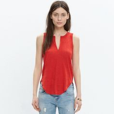 Madewell Linen split-neck tank. A skin-baring split neckline gives this tank top a sexy feel. An airy linen that keeps its shape while still having a cool drape.   •True to size. •Linen. •Hand wash. •Import.                                                                        c3392 please ask for measurements. Excellent condition. Madewell Tops Tank Tops
