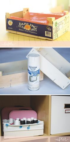 Clementine crates into cute storage bins. Just a coat of paint and a simple fabric liner, I could totally do this. (via Megan Nielsen)
