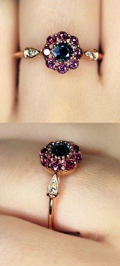 ced2061aa0af4 Dieser Vintage Saphir-Verlobungsring begeistert mit seinen satten und  freudigen Farben. EIN … - Diy Jewelry Projects