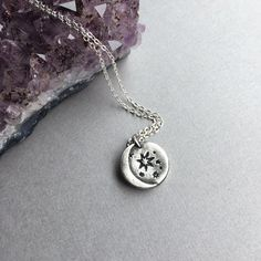 "Celestial Magic; handmade in pure silver, this darling Crescent Moon pendant hangs on a sterling silver chain of your choice from 16""-18"". ($48) #moonjewelry #freepeople #celestialjewelry"