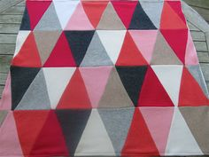 """Upcycled Cashmere Blanket -Triangle Quilt  Ready to Ship made by HouseOfRowan on Etsy, $90.00. House of Rowan voted """"BEST of MAINE"""" in the July 2013 issue of Down East Magazine. Thanks for pinning!"""