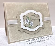 Stamp sets: You're Lovely, Petite Pairs, Hardwood Papers: Sahara Sand, Neutrals Core'dinations (Sahara Sand), Whisper White, Pistachio Pudding Inks: Jet Black StazOn Accessories: Deco Labels Collection Framelits, Whisper White 3/8″ Taffeta Ribbon, Stampin' Dimensionals